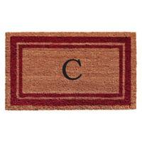 """Home & More Monogram Letter """"C"""" 18-Inch x 30-Inch Border Door Mat in Burgundy"""