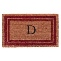 "Home & More Monogram Letter ""D"" 18-Inch x 30-Inch Border Door Mat in Burgundy"