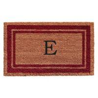 "Home & More Monogram Letter ""E"" 18-Inch x 30-Inch Border Door Mat in Burgundy"