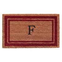 "Home & More Monogram Letter ""F"" 18-Inch x 30-Inch Border Door Mat in Burgundy"