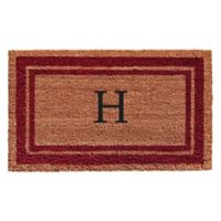 "Home & More Monogram Letter ""H"" 18-Inch x 30-Inch Border Door Mat in Burgundy"