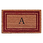 "Home & More Monogram Letter ""A"" 18-Inch x 30-Inch Border Door Mat in Burgundy"
