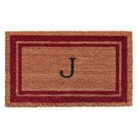 "Home & More Monogram Letter ""J"" 18-Inch x 30-Inch Border Door Mat in Burgundy"