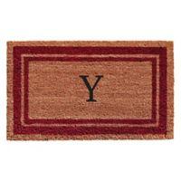 """Home & More Monogram Letter """"Y"""" 18-Inch x 30-Inch Border Door Mat in Burgundy"""