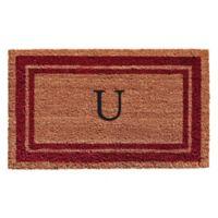 """Home & More Monogram Letter """"U"""" 18-Inch x 30-Inch Border Door Mat in Burgundy"""