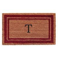 """Home & More Monogram Letter """"T"""" 18-Inch x 30-Inch Border Door Mat in Burgundy"""