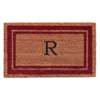 "Home & More Monogram Letter ""R"" 18-Inch x 30-Inch Border Door Mat in Burgundy"