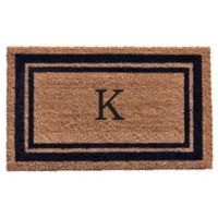 "Home & More Monogram Letter ""K"" 24-Inch x 36-Inch Border Door Mat in Dark Blue"