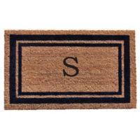 """Home & More Monogram Letter """"S"""" 24-Inch x 36-Inch Border Door Mat in Dark Blue"""