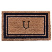 "Home & More Monogram Letter ""U"" 18-Inch x 30-Inch Border Door Mat in Dark Blue"