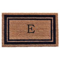 "Home & More Monogram Letter ""E"" 18-Inch x 30-Inch Border Door Mat in Dark Blue"