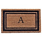 "Home & More Monogram Letter ""A"" 18-Inch x 30-Inch Border Door Mat in Dark Blue"