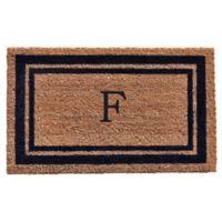 "Home & More Monogram Letter ""F"" 18-Inch x 30-Inch Border Door Mat in Dark Blue"