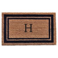 "Home & More Monogram Letter ""H"" 18-Inch x 30-Inch Border Door Mat in Dark Blue"
