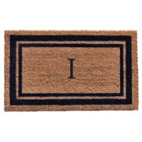 "Home & More Monogram Letter ""I"" 18-Inch x 30-Inch Border Door Mat in Dark Blue"