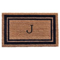 "Home & More Monogram Letter ""J"" 18-Inch x 30-Inch Border Door Mat in Dark Blue"