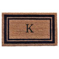 """Home & More Monogram Letter """"K"""" 18-Inch x 30-Inch Border Door Mat in Dark Blue"""