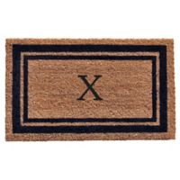 "Home & More Monogram Letter ""X"" 18-Inch x 30-Inch Border Door Mat in Dark Blue"