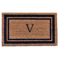 "Home & More Monogram Letter ""V"" 18-Inch x 30-Inch Border Door Mat in Dark Blue"