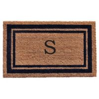 """Home & More Monogram Letter """"S"""" 18-Inch x 30-Inch Border Door Mat in Dark Blue"""