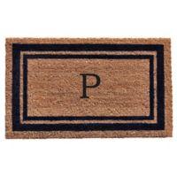 """Home & More Monogram Letter """"P"""" 18-Inch x 30-Inch Border Door Mat in Dark Blue"""