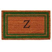 """Home & More Monogram Letter """"Z"""" 18-Inch x 30-Inch Border Door Mat in Green"""