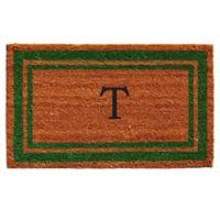 """Home & More Monogram Letter """"T"""" 18-Inch x 30-Inch Border Door Mat in Green"""