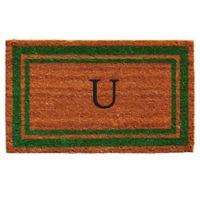 """Home & More Monogram Letter """"U"""" 18-Inch x 30-Inch Border Door Mat in Green"""