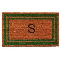 """Home & More Monogram Letter """"S"""" 24-Inch x 36-Inch Border Door Mat in Green"""
