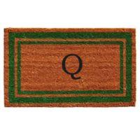 """Home & More Monogram Letter """"Q"""" 18-Inch x 30-Inch Border Door Mat in Green"""