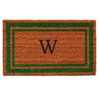 """Home & More Monogram Letter """"W"""" 24-Inch x 36-Inch Border Door Mat in Green"""