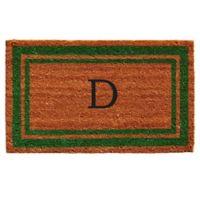 """Home & More Monogram Letter """"D"""" 18-Inch x 30-Inch Border Door Mat in Green"""