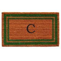 """Home & More Monogram Letter """"C"""" 18-Inch x 30-Inch Border Door Mat in Green"""
