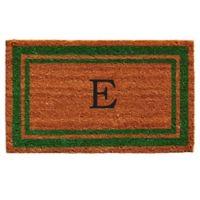 "Home & More Monogram Letter ""E"" 18-Inch x 30-Inch Border Door Mat in Green"