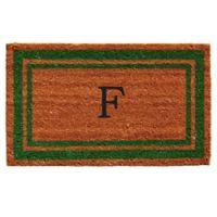 """Home & More Monogram Letter """"F"""" 18-Inch x 30-Inch Border Door Mat in Green"""