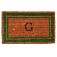 "Home & More Monogram Letter ""G"" 18-Inch x 30-Inch Border Door Mat in Green"