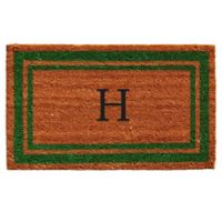 "Home & More Monogram Letter ""H"" 18-Inch x 30-Inch Border Door Mat in Green"