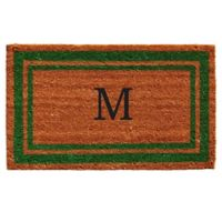 """Home & More Monogram Letter """"M"""" 18-Inch x 30-Inch Border Door Mat in Green"""