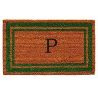 """Home & More Monogram Letter """"P"""" 18-Inch x 30-Inch Border Door Mat in Green"""