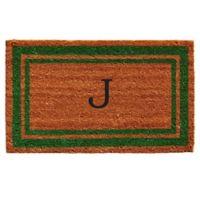 """Home & More Monogram Letter """"J"""" 18-Inch x 30-Inch Border Door Mat in Green"""