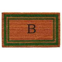 """Home & More Monogram Letter """"B"""" 18-Inch x 30-Inch Border Door Mat in Green"""