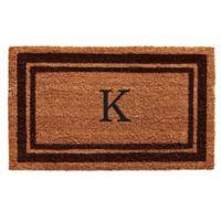 """Home & More Monogram Letter """"K"""" 24-Inch x 36-Inch Border Door Mat in Brown"""