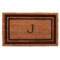 """Home & More Monogram Letter """"J"""" 24-Inch x 36-Inch Border Door Mat in Brown"""