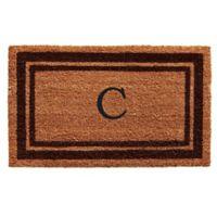 """Home & More Monogram Letter """"C"""" 24-Inch x 36-Inch Border Door Mat in Brown"""