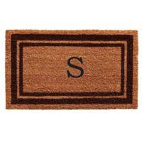 """Home & More Monogram Letter """"S"""" 24-Inch x 36-Inch Border Door Mat in Brown"""