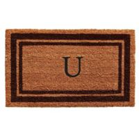"""Home & More Monogram Letter """"U"""" 24-Inch x 36-Inch Border Door Mat in Brown"""