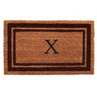 """Home & More Monogram Letter """"X"""" 24-Inch x 36-Inch Border Door Mat in Brown"""