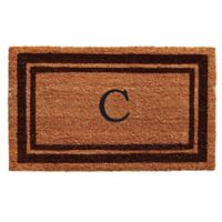 """Home & More Monogram Letter """"C"""" 18-Inch x 30-Inch Border Door Mat in Brown"""