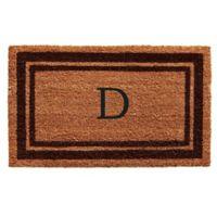 """Home & More Monogram Letter """"D"""" 18-Inch x 30-Inch Border Door Mat in Brown"""