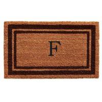 """Home & More Monogram Letter """"F"""" 18-Inch x 30-Inch Border Door Mat in Brown"""
